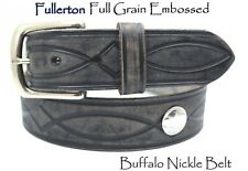"MEN'S GRAY FULL GRAIN TOOLED LEATHER BUFFALO NICKLE SIZES: 32""- 46"" 1-1/2"" WIDE"