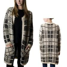 Check Knitted Long Coat Glitter / Cardigan / Sweater W/ Long Sleeves