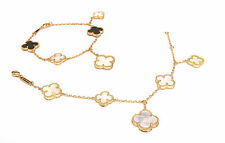 Lucky clover bracelet mother of pearl and black onyx 5 motifs 18k gold plated