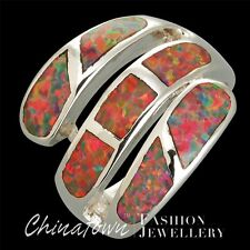 SIZE 6 7 8 9 10 11 12 LAB BROWN FIRE OPAL SILVER SF WIDE WOUND BYPASS WRAP RING