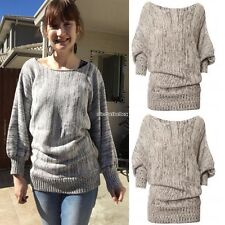 Women Batwing Sleeve Knitting Sweater Plus Loose Outwear Pullover Knitted N98B