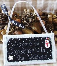 PERSONALISED HANDMADE CHRISTMAS PLAQUE SIGN PAINTED WELCOME FAMILY XMAS GIFT