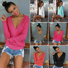 Womens Sexy V Neck Loose Sweater Casual Long Sleeve Jumper Tops Blouse Pullover