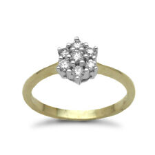 Jewelco London 9ct Gold Diamond Classic 7 Stone Cluster Ring 33pts