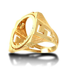 Jewelco London 9ct Gold Curb Links Square Full Sovereign Mount Ring