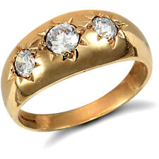 Jewelco London 9ct Gold CZ Star Set 3 Stone Trilogy Gypsy Ring