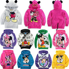 Kids Boy Girl Mickey Minnie Print Winter Hoodies Coat Sweatshirt Toddler Clothes