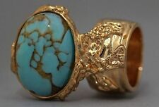 TURQUOISE GLASS KNUCKLE ART RING GOLD WOMEN VINTAGE ARTY CHUNKY ARMOR STATEMENT
