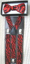 Red Black Zebra Animal Print Bow tie & Red Black Zebra Animal Print Suspenders!