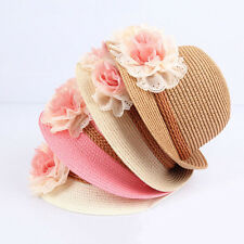Beautiful Toddlers Infants Baby Girls Flower Summer Straw Sun Beach Hat Cap SE