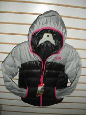 THE NORTH FACE GIRLS REVERSIBLE DOWN MOONDOGGY JACKET-A2TME- SILVER- NEW 2016