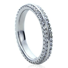 3.5mm Platinum Plated Silver 1ct CZ Row Pave Eternity Ring Wedding Band set