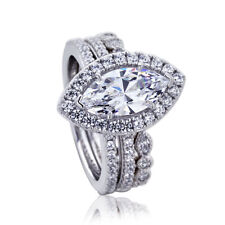 16mm Platinum Plate Silver 1.5ct Marquise CZ Wedding Engagement Bridal Ring Set