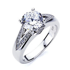 5mm Platinum Plated Sterling Silver 2ct CZ Solitaire Wedding Engagement Ring set
