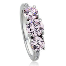6mm Platinum Plated Sterling Silver Pink CZ 3 Stone Wedding Engagement Ring set