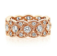 8mm Rose Gold Plated Silver 1.75ct CZ Wedding Band Vintage Eternity Ring set