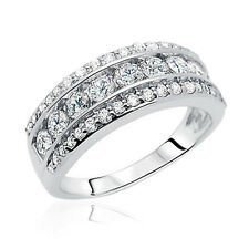 8mm Rhodium Plated Sterling Silver CZ Engagement Ring Wedding Anniversary Band