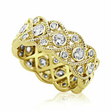 8mm Yellow Gold Plated Silver 1.75ct CZ Wedding Band Vintage Eternity Ring set