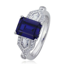 9mm Platinum Plated Silver 2.5ct Sapphire CZ Wedding Engagement Ring set