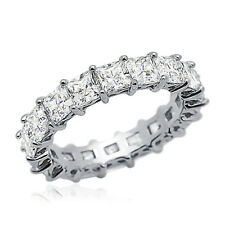 4.5mm Rhodium Plated Silver Wedding Ring Princess CZ Eternity Engagement Band