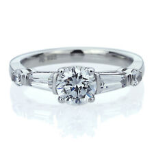 6mm Platinum Plated Silver 1ct CZ Baguette Accent Wedding Engagement Ring set