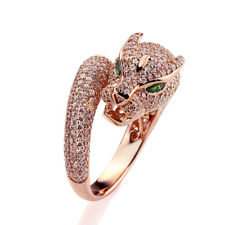 16mm 14K Rose Gold Plated Silver Puma Design CZ Pave Setting Right Hand Ring