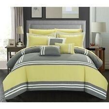 NEW Queen King Bed Bag Yellow Gray White Striped Block 10pc Comforter Sheets Set