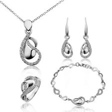 Womens 18K Gold Filled Heart Necklace Earrings Ring Bracelet Set Wedding Jewelry