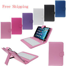 """7"""" Luxury Universal PU USB Keyboard Case Stand Cover for iPad Samsung Tablet Lot"""