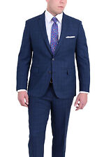 Mens Extra Slim Fit Blue Windowpane Two Button Wool Blend Suit