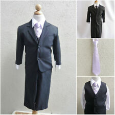 Black teen toddler boy formal suit with lilac/iris/light purple tie bridal party