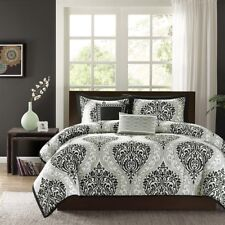 NEW Twin XL Full Queen Cal King Bed Bag Black Gray Damask 5 pc Comforter Set NWT