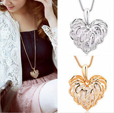 Unique Ladies Golden/Silver Plated Hollow Heart Alloy Rhinestone Chain Necklace