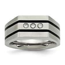 Chisel Brushed Titanium Black IP-Plated Grooved Triple CZ Ring Size 9 to 12