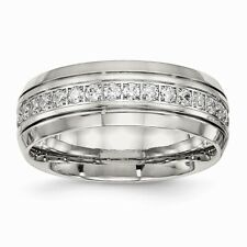 Chisel 8mm Polished Stainless Steel Half-Round Clear CZ Band Size 6 to 13