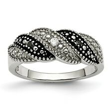 Chisel Stainless Steel Black & Clear CZ Weave Pattern Ring Size 6 to 9