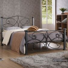 NEW Gray Twin Full Queen Metal Mattress Foundation Bed Frame Headboard Footboard
