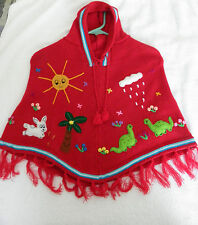 Brand New ~ Made In Peru ~ Arpillera Poncho with Hood Size T4 Red #P7070002 Red