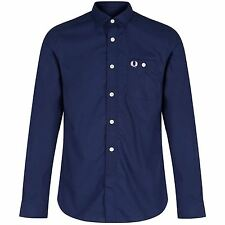 FRED PERRY MENS LONG SLEEVED CONCEALED TIPPED SHIRT WHITE MOD CASUALS SMART