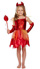 GIRLS RED FAIRY DEVIL COSTUME FANCY DRESS WAND HALLOWEEN OUTFIT NEW AGE 4-6 7-9