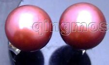 SALE 8-8.5mm Red Flat Natural Freshwater Pearl Earring &Silver 925 stud-299