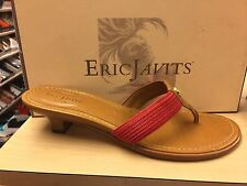 Eric Javits Women's Logo Thong Coral and Tan Leather and Woven Sandals
