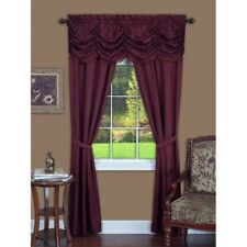 NEW 5 pc Window Curtains Panels Drapes Pair Valance Set 84 63 Solid Burgundy Red