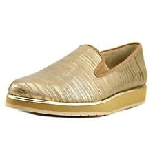 Donald J Pliner Betina Women  Round Toe Leather Gold Loafer NWOB