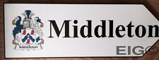Middleton - Family Crest Coat of Arms on Wooden Sign - Wall Plaque
