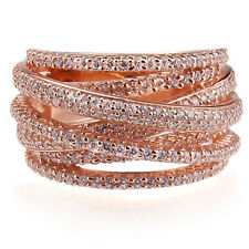 Fine 13.5mm 14K Rose Gold Plated Sterling Silver Intertwined Design CZ Ring