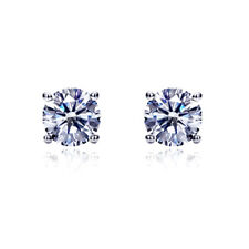 Women 14K White Gold Cubic CZ Basket Setting Solitaire Safetyback Stud Earrings