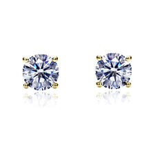 Women 14K Yellow Gold Round Cut Cubic CZ Basket Setting Solitaire Stud Earrings