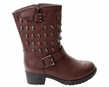 WOMENS BROWN SKULL STUDDED BUCKLE BIKER BLOCK HEEL ANKLE BOOTS LADIES SIZE 3-8