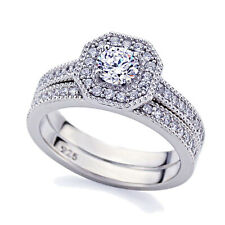 Women 5mm Platinum Plated Silver 0.5ct CZ Vintage Engagement Ring Bridal Set